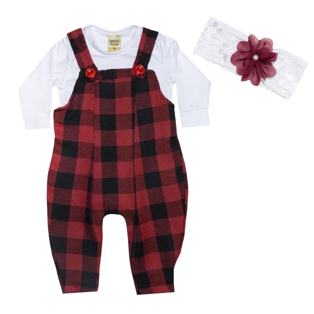 Conjunto Bebê Jardineira Xadrez Vermelho  - Jeito Infantil