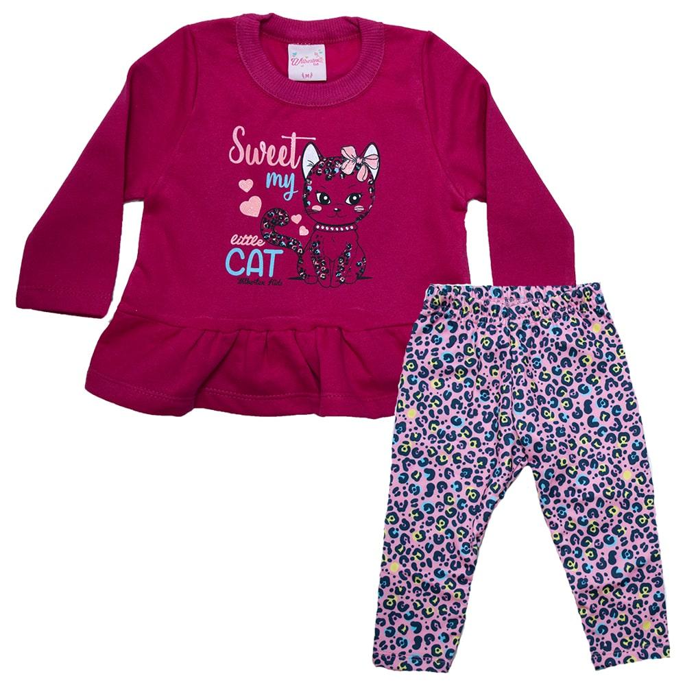 Conjunto Bebê Little Cat Pink  - Jeito Infantil