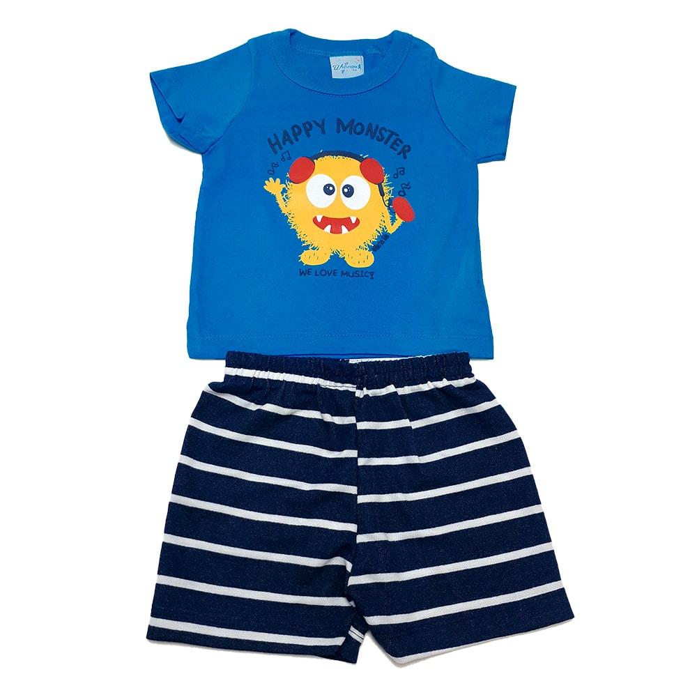 Conjunto Bebê Monster Azul  - Jeito Infantil