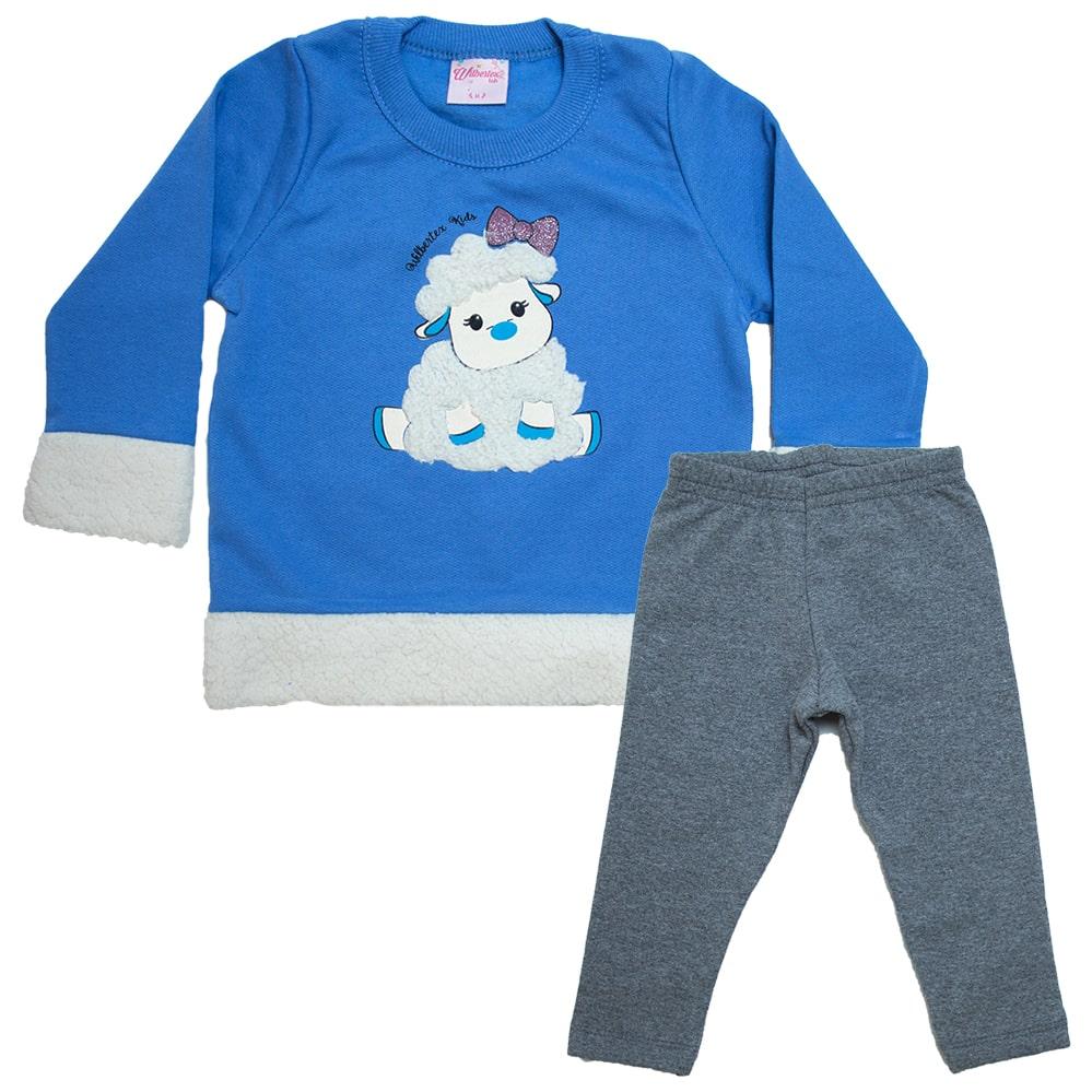Conjunto Bebê Ovelhinha Azul  - Jeito Infantil