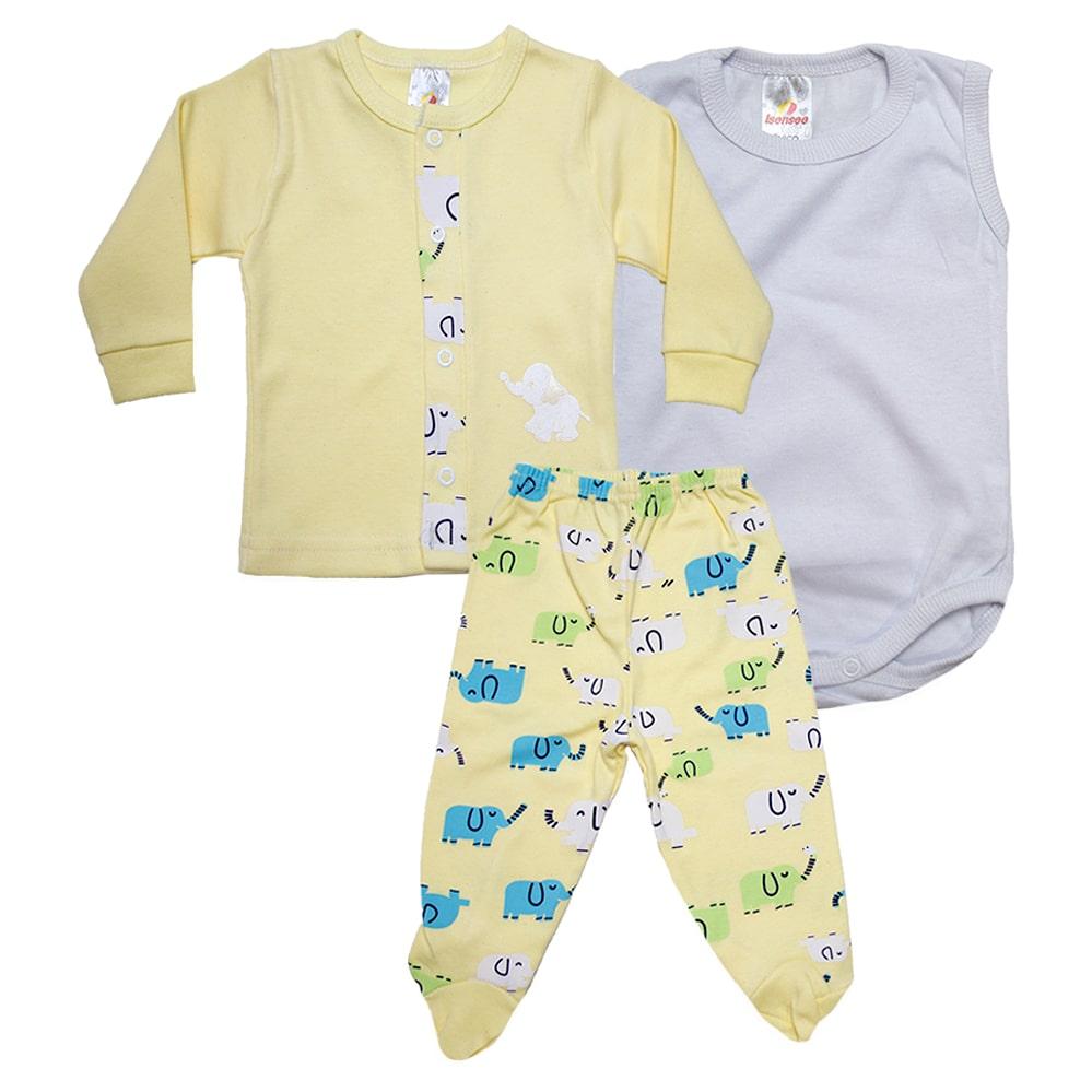 Conjunto Bebê Pagão 03 Peça Amarelo  - Jeito Infantil