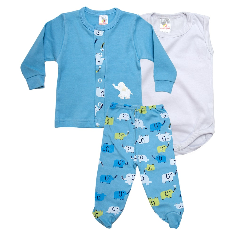 Conjunto Bebê Pagão 03 Peças Azul  - Jeito Infantil