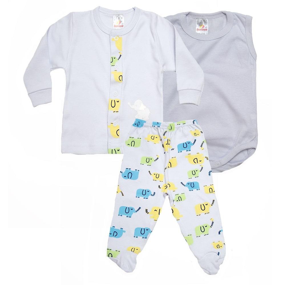 Conjunto Bebê Pagão 03 Peças Branco  - Jeito Infantil