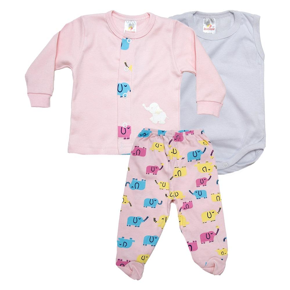 Conjunto Bebê Pagão 03 Peças  Rosa  - Jeito Infantil