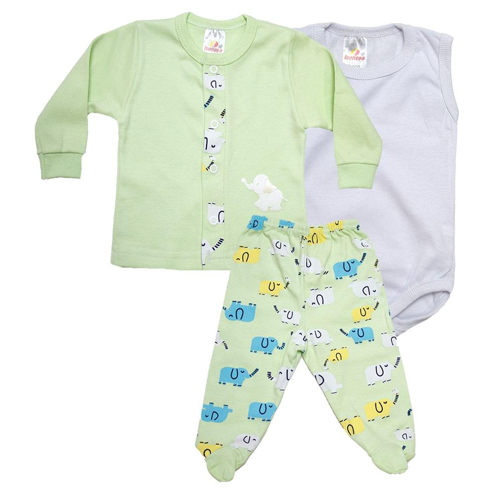 Conjunto Bebê Pagão 03 Peças Verde  - Jeito Infantil