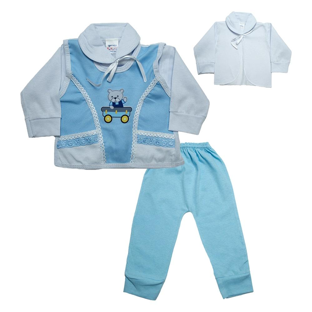 Conjunto Bebê Pagão Colete Azul  - Jeito Infantil