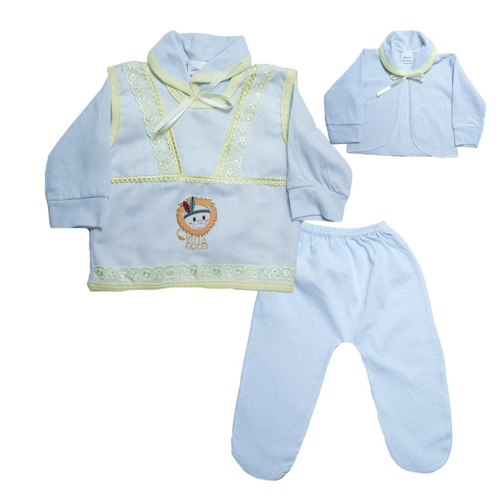 Conjunto Bebê Pagão Com Aplique  Branco e Amarelo  - Jeito Infantil