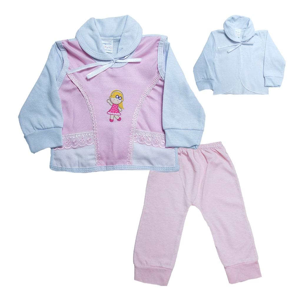 Conjunto Bebê Pagão Com Aplique  Branco e Rosa  - Jeito Infantil