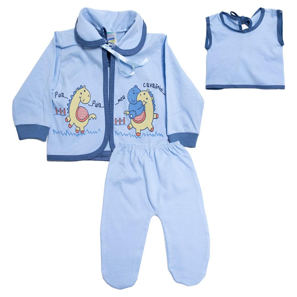 Conjunto Bebê Pagão Com Estampa Azul  - Jeito Infantil