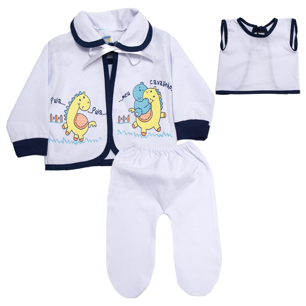 Conjunto Bebê Pagão Com Estampa Branco  - Jeito Infantil