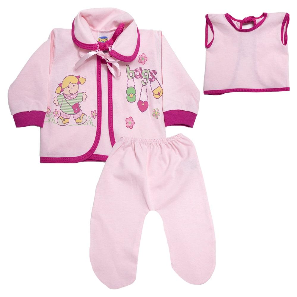 Conjunto Bebê Pagão Com Estampa Rosa  - Jeito Infantil