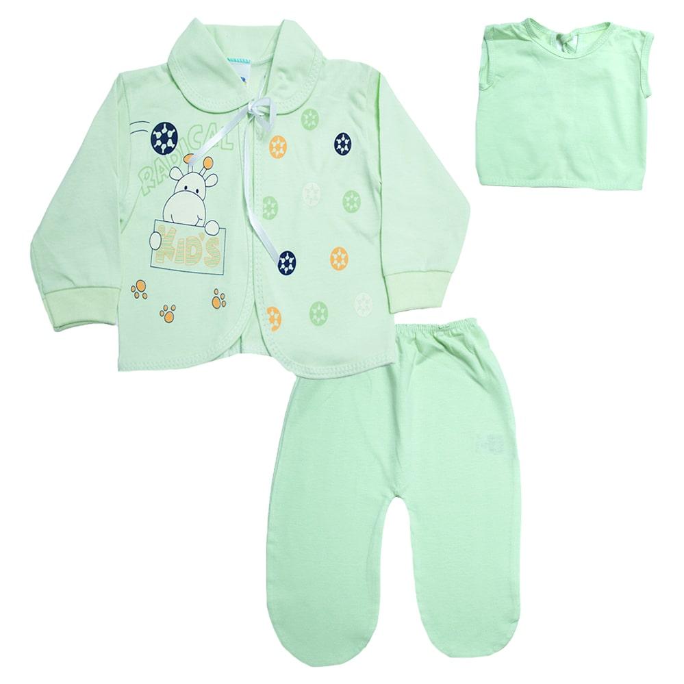 Conjunto Bebê Pagão Com Estampa Verde  - Jeito Infantil