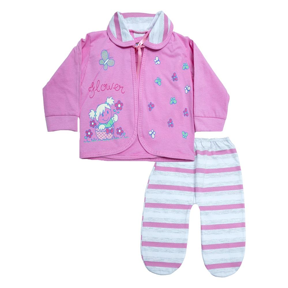 Conjunto Bebê Pagão Listras Rosa  - Jeito Infantil