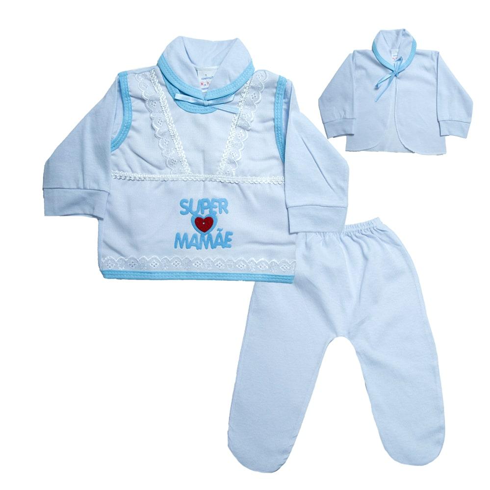Conjunto Bebê Pagão Mamãe  Branco e Azul  - Jeito Infantil