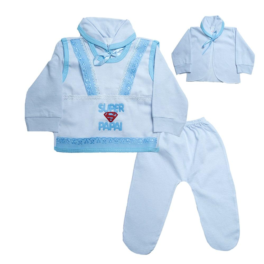Conjunto Bebê Pagão Super Papai  Branco e Azul  - Jeito Infantil
