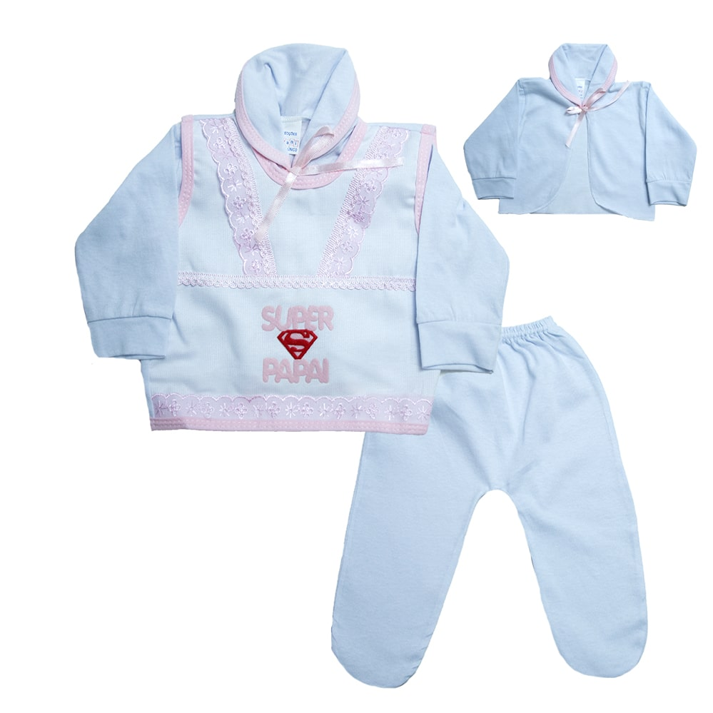 Conjunto Bebê Pagão Super Papai Branco e Rosa  - Jeito Infantil
