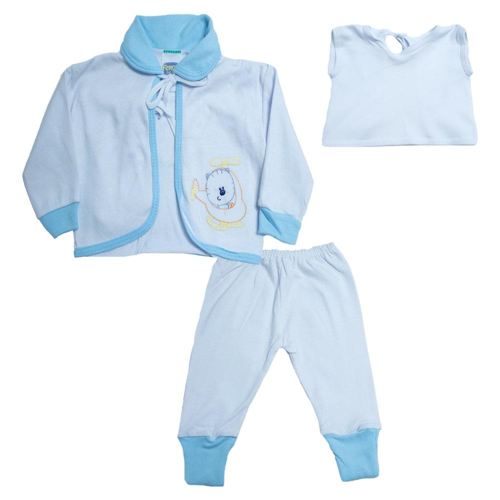 Conjunto Bebê Pagão  Vira Pé Baby Azul  - Jeito Infantil