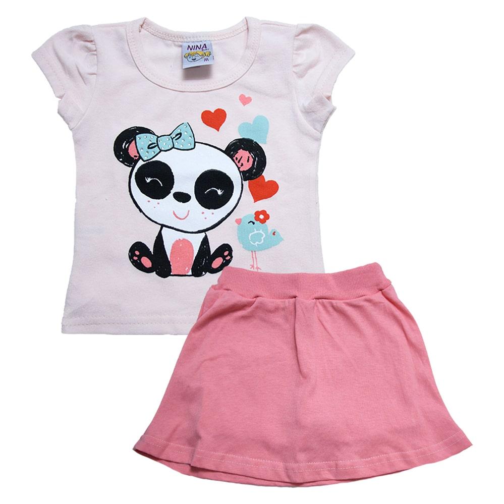 Conjunto Bebê Panda Salmão  - Jeito Infantil