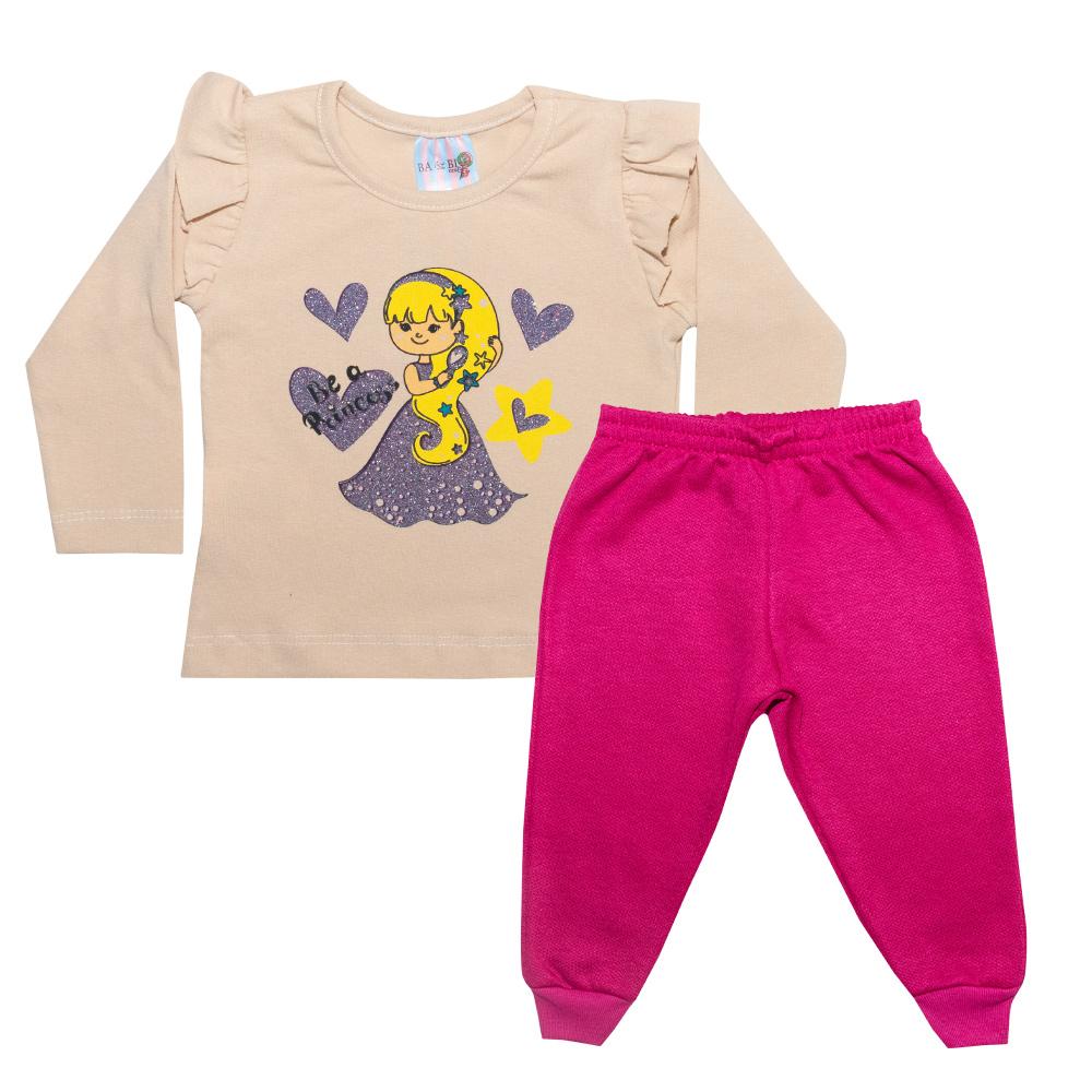 Conjunto Bebê Princess Bege  - Jeito Infantil