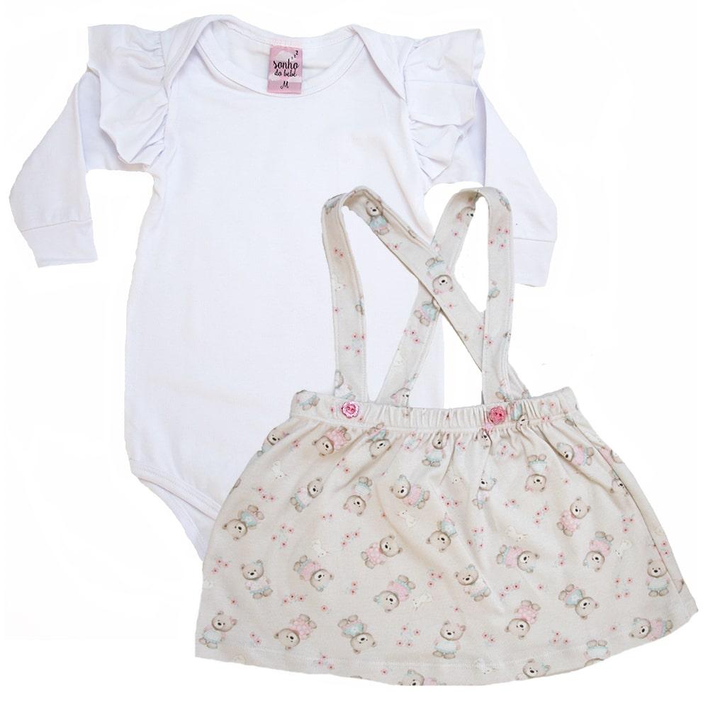 Conjunto Bebê Salopete Branco e Pérola  - Jeito Infantil