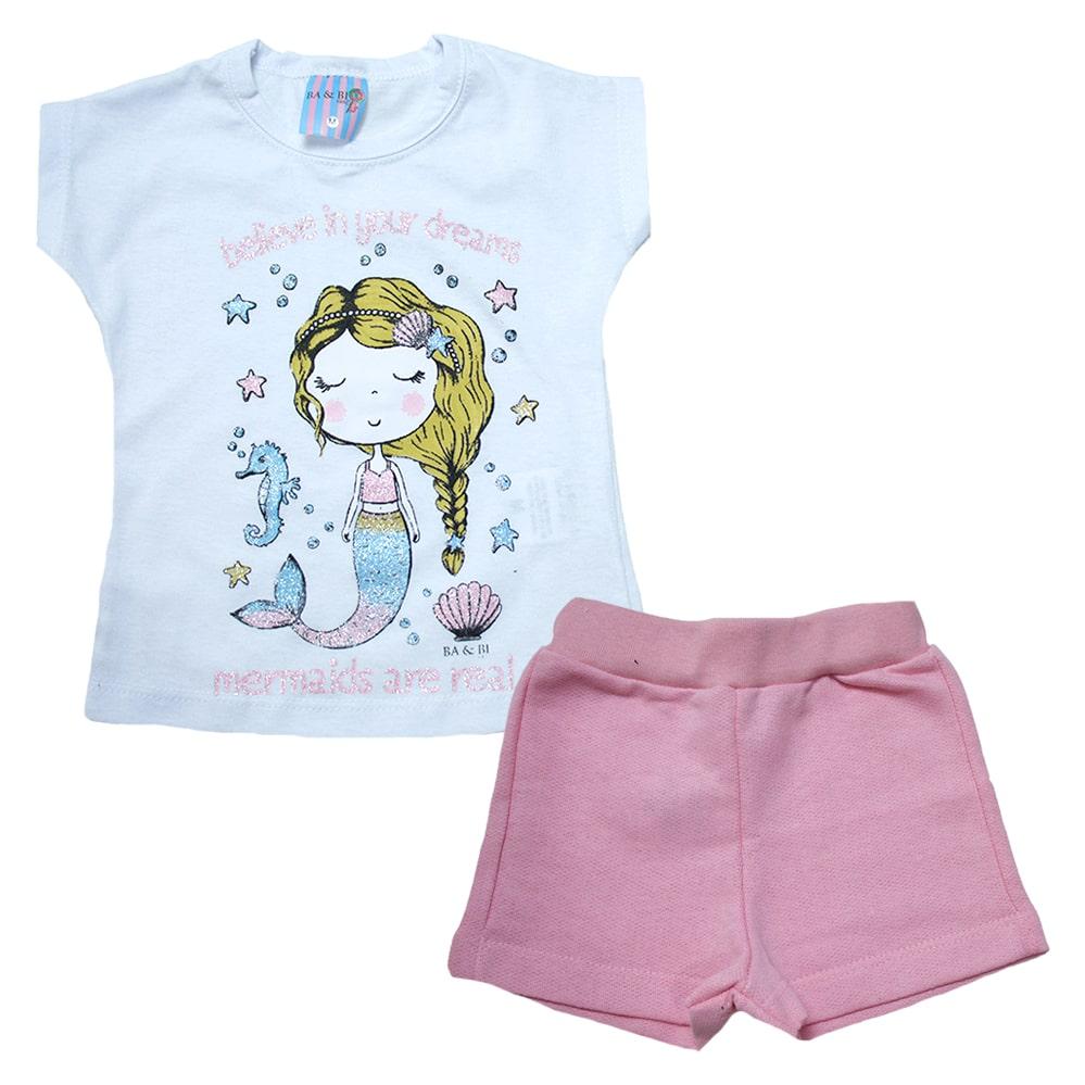 Conjunto Bebê Sereia Branco  - Jeito Infantil