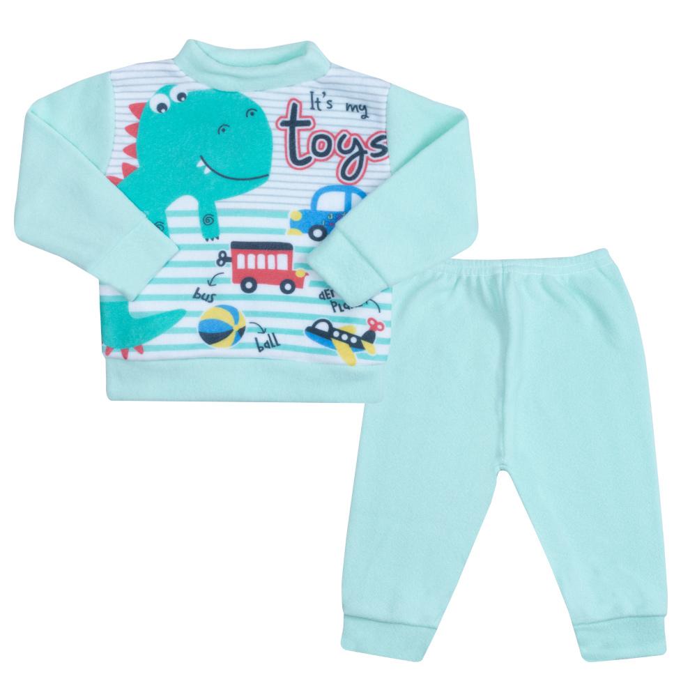 Conjunto Bebê Soft Dino Verde  - Jeito Infantil