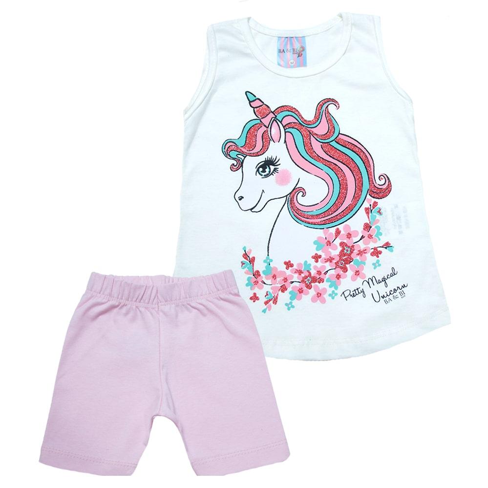 Conjunto Bebê Unicórnio Branco  - Jeito Infantil