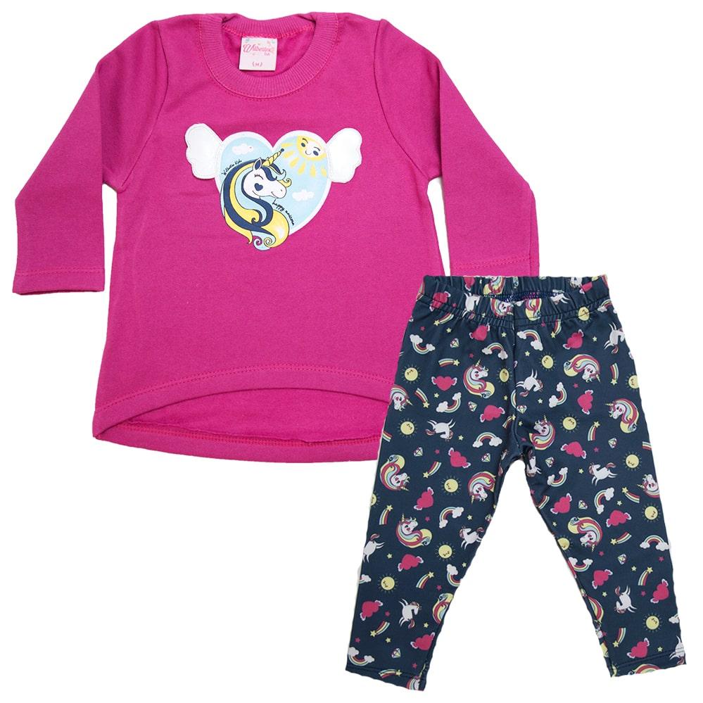 Conjunto Bebê Unicórnio Pink  - Jeito Infantil