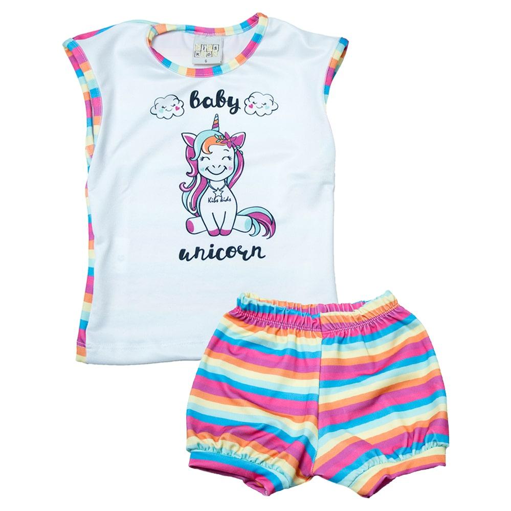 Conjunto Bebê Unicórnio Rosa  - Jeito Infantil