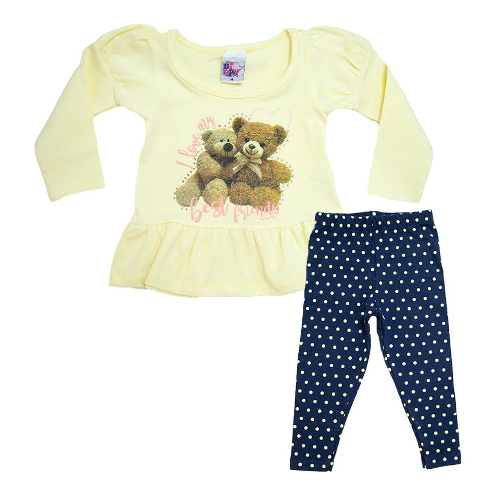 Conjunto Bebê Ursinhos Amarelo  - Jeito Infantil