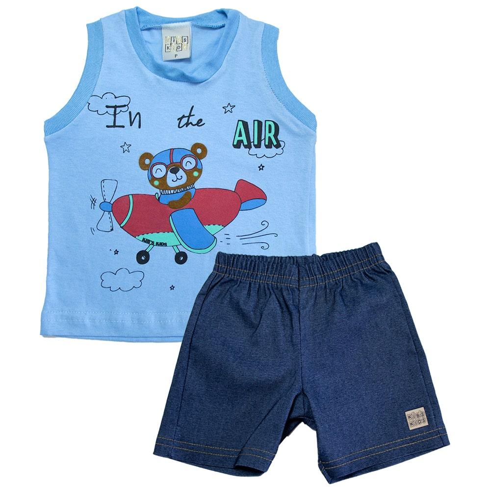 Conjunto Bebê Urso Aviador Azul  - Jeito Infantil