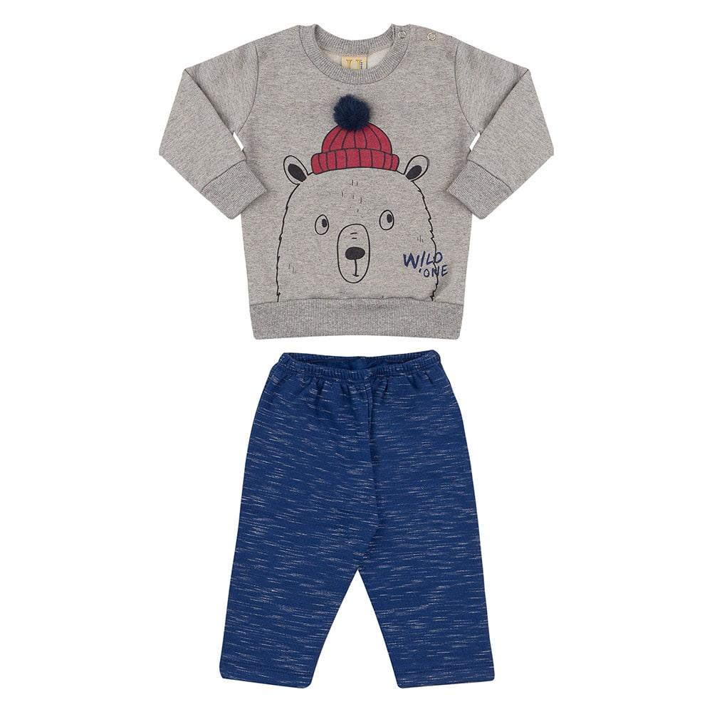 Conjunto Bebê Urso Pompom Mescla  - Jeito Infantil