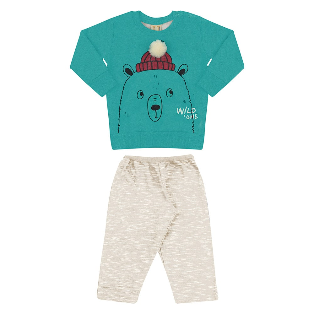 Conjunto Bebê Urso Pompom Verde  - Jeito Infantil