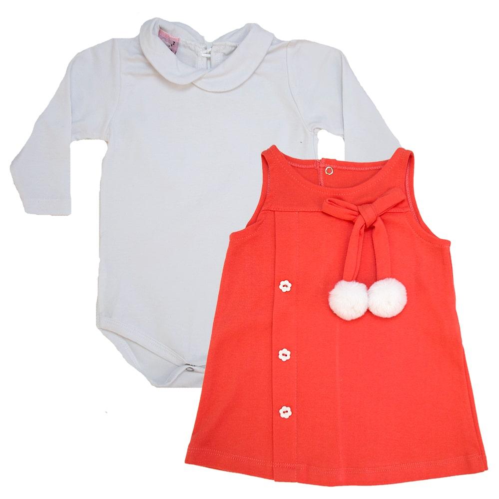Conjunto Bebê Vestido Branco e Coral  - Jeito Infantil