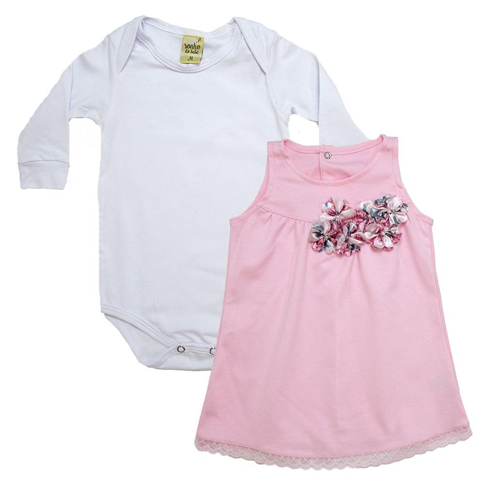 Conjunto Bebê Vestido Branco e Rosa  - Jeito Infantil