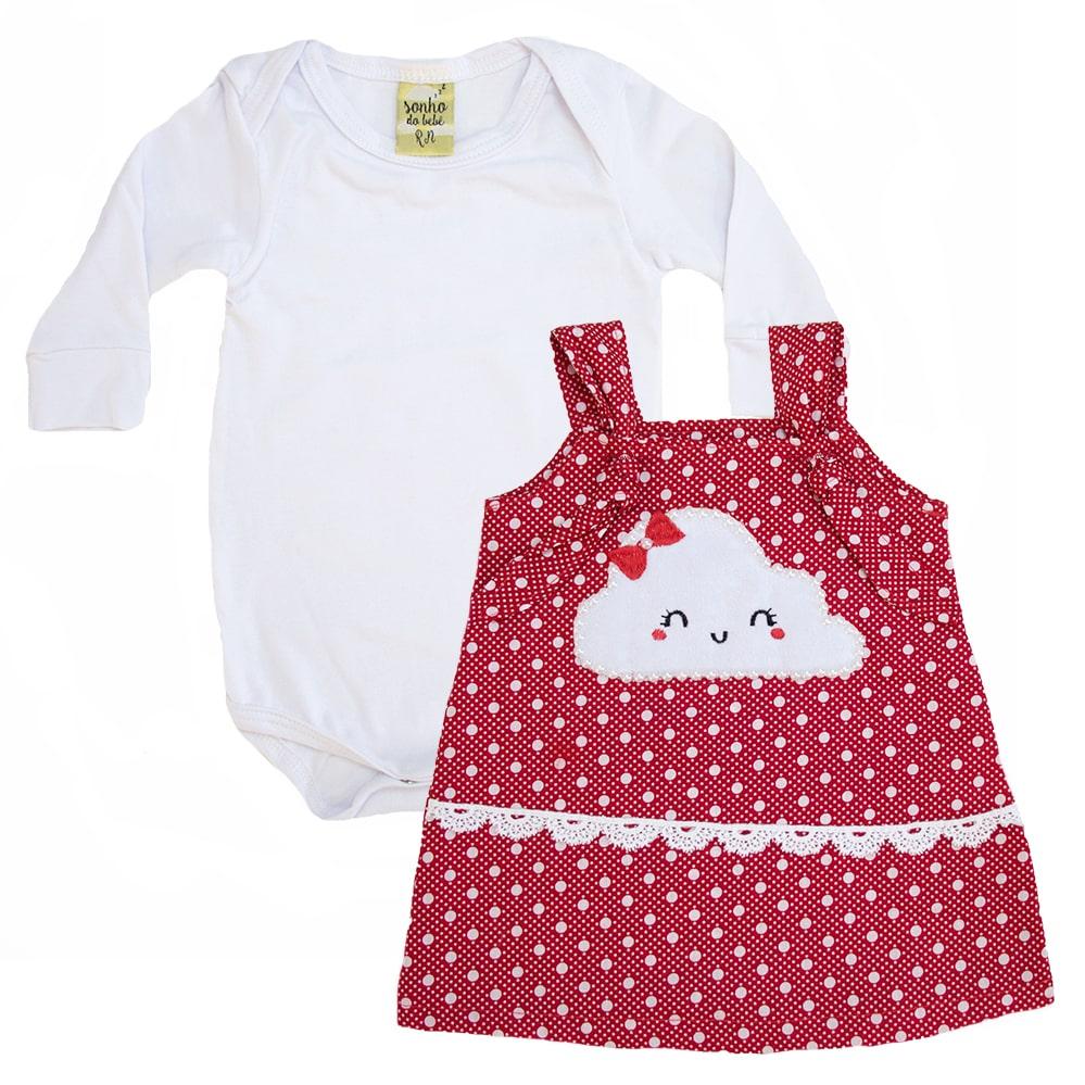 Conjunto Bebê Vestido Nuvem Branco e Vermelho  - Jeito Infantil