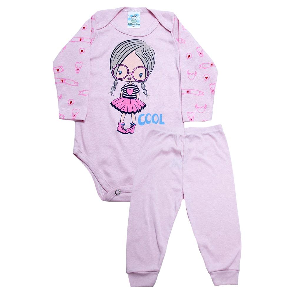 Conjunto Body Bebê Menina Rosa  - Jeito Infantil