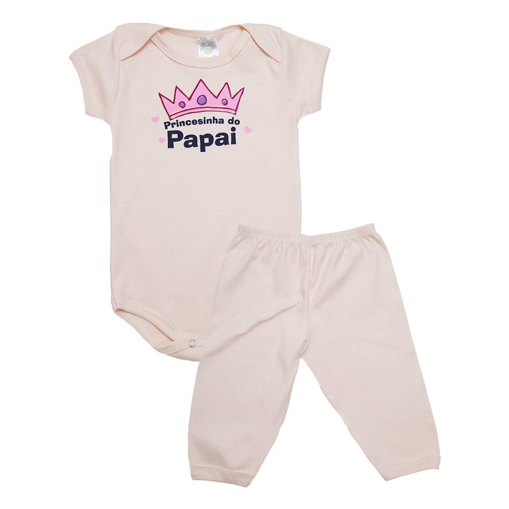Conjunto Body Bebê Princesinha Do Papai Rose  - Jeito Infantil