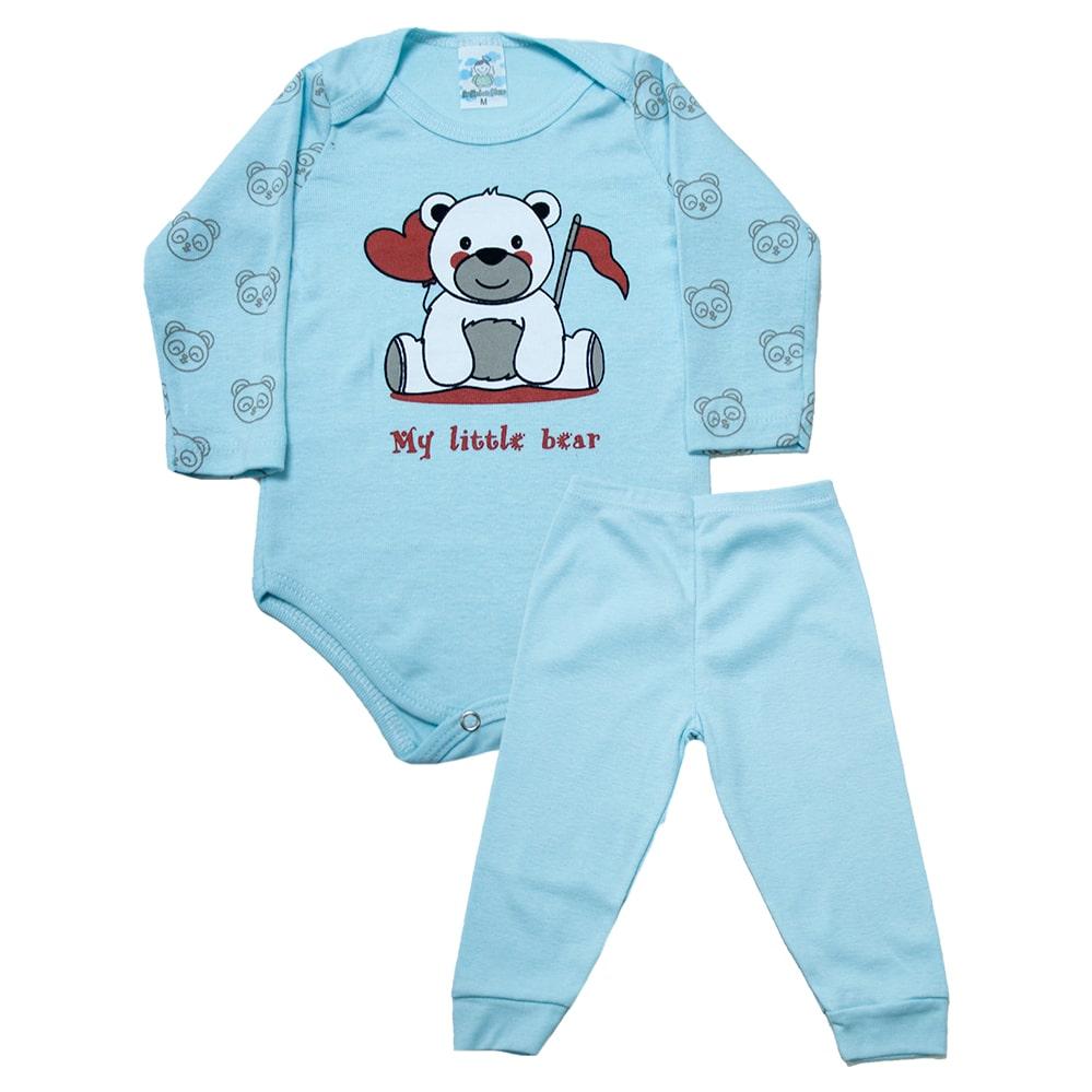 Conjunto Body Bebê Ursinho Azul  - Jeito Infantil