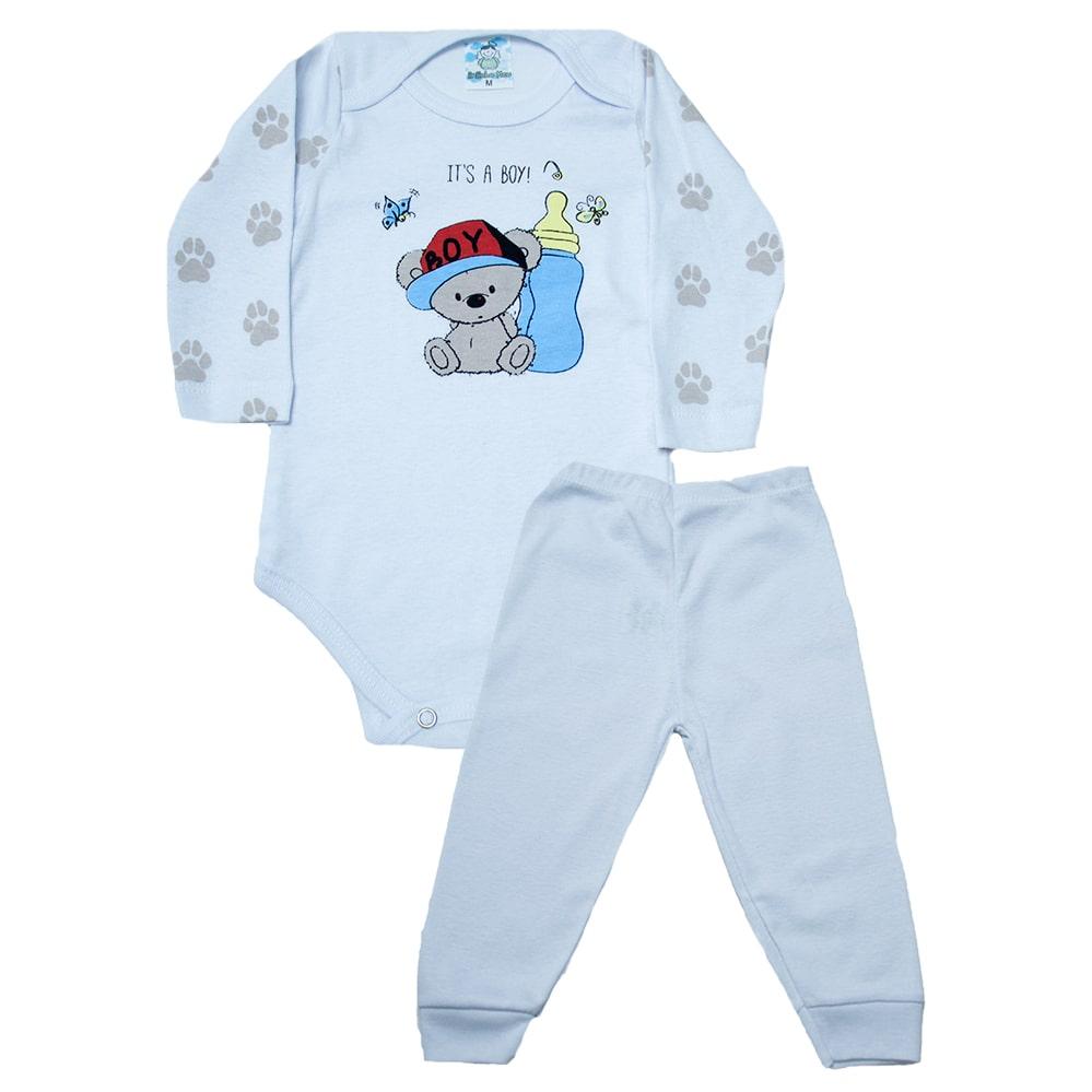Conjunto Body Bebê Ursinho Branco  - Jeito Infantil