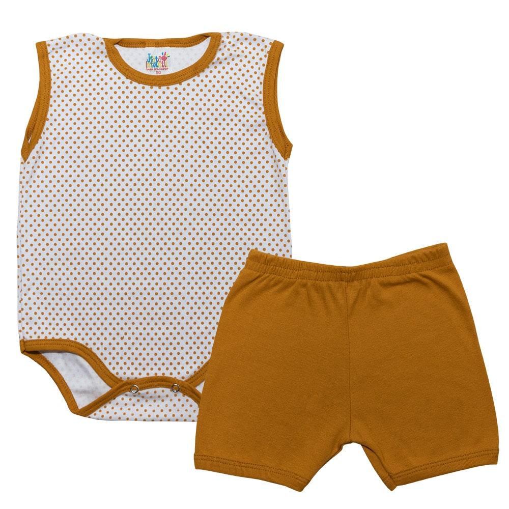 Conjunto Body Poá Mostarda  - Jeito Infantil