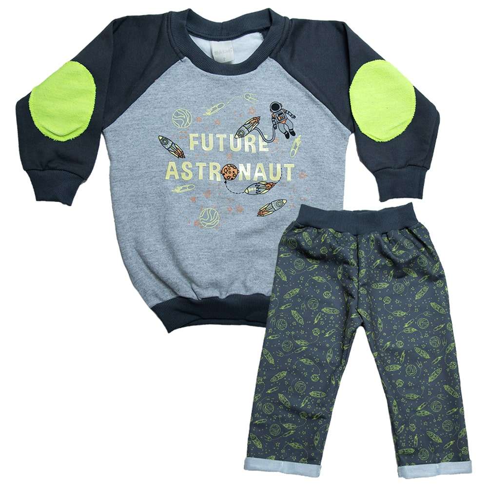 Conjunto Infantil Astronauta  Chumbo  - Jeito Infantil