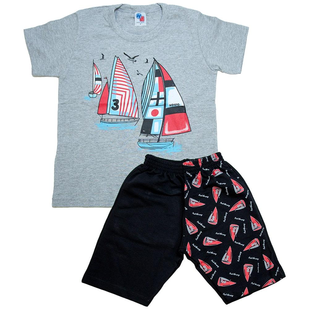 Conjunto Infantil Barcos Mescla  - Jeito Infantil
