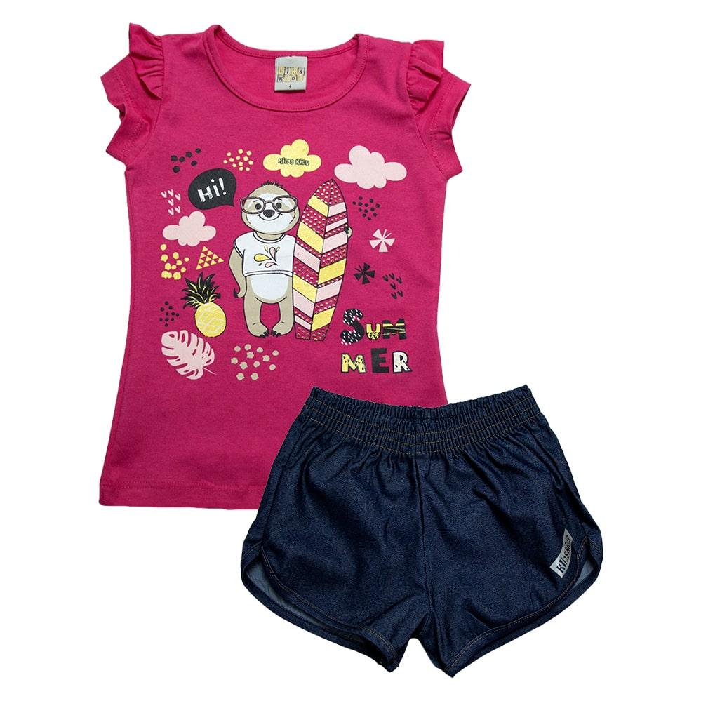 Conjunto Infantil Bicho Preguiça Pink  - Jeito Infantil