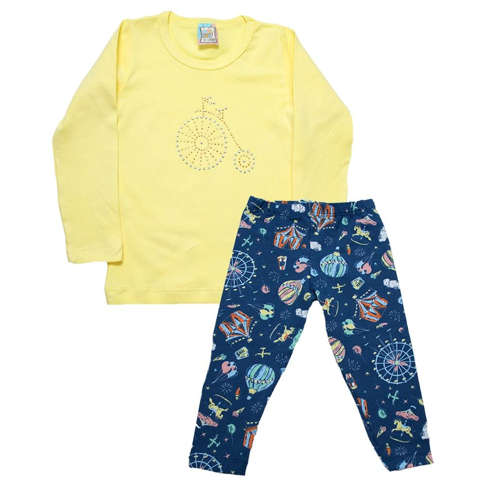 Conjunto Infantil Bicicleta Amarelo  - Jeito Infantil