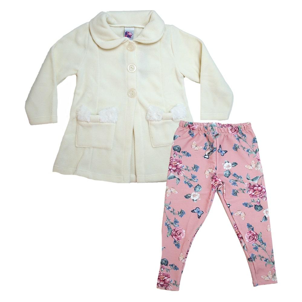 Conjunto Infantil Blazer e Legging Pérola e Rosê  - Jeito Infantil