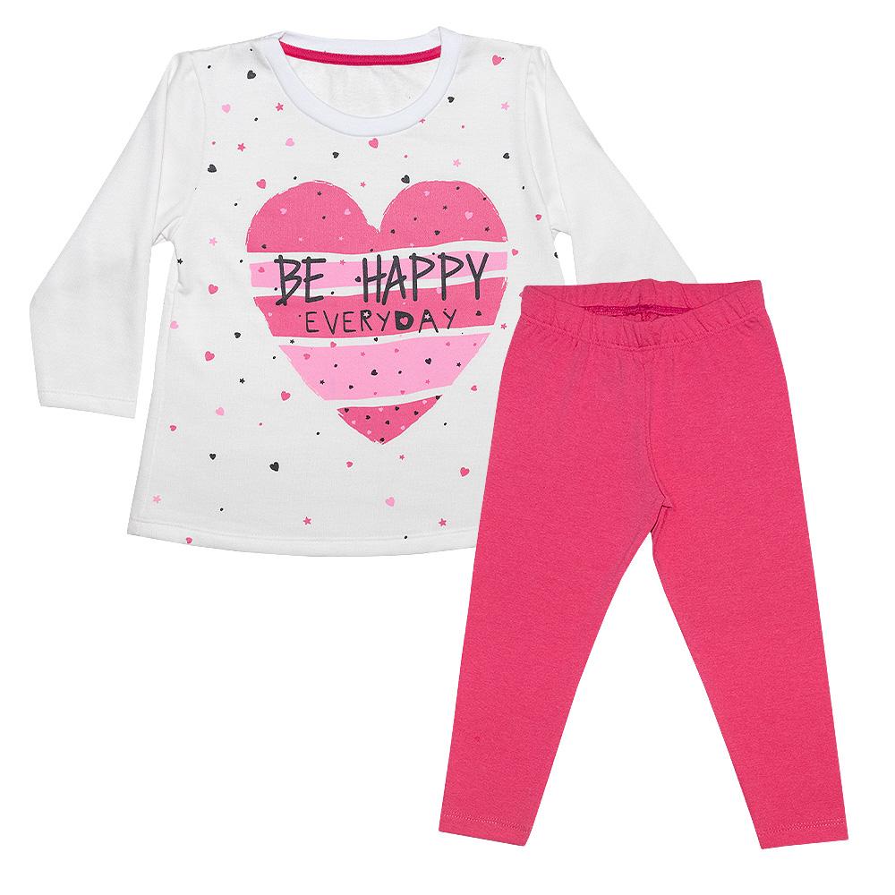 Conjunto Infantil Blusa Be Happy Pérola  - Jeito Infantil