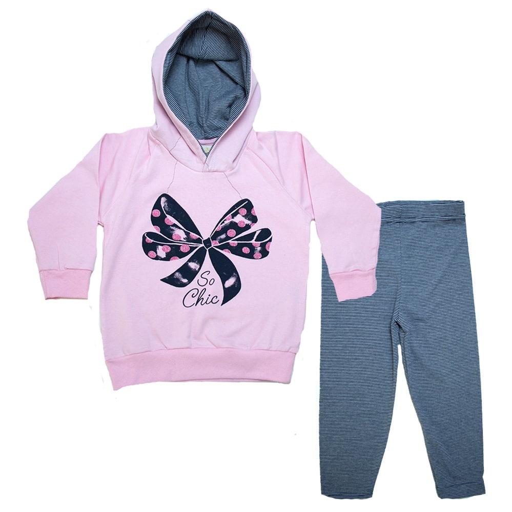 Conjunto Infantil Blusão Laço Rosa  - Jeito Infantil