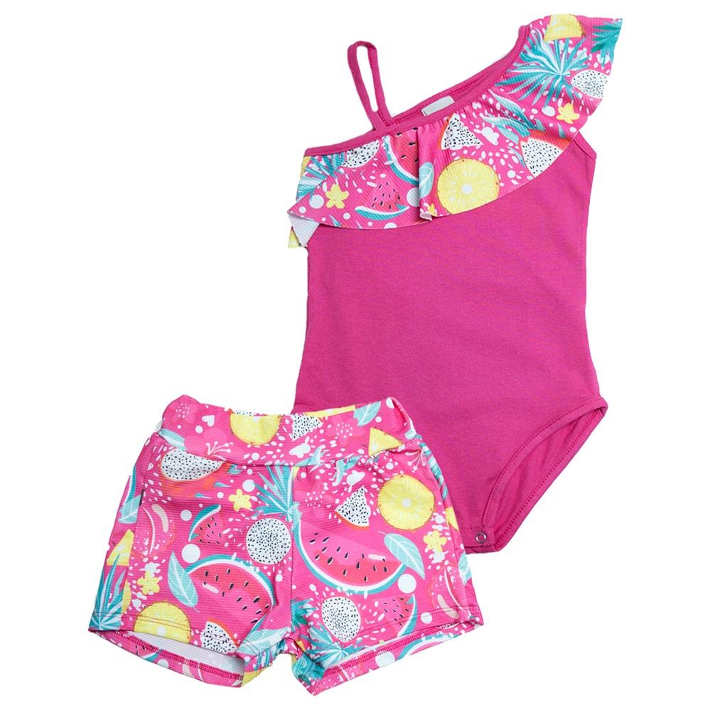 Conjunto Infantil Body Frutas Pink  - Jeito Infantil
