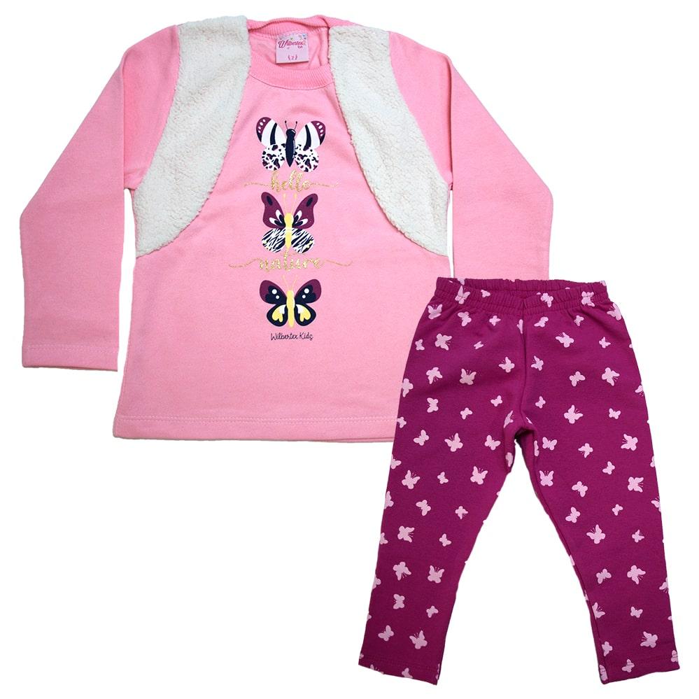 Conjunto Infantil Borboletas Rosa  - Jeito Infantil